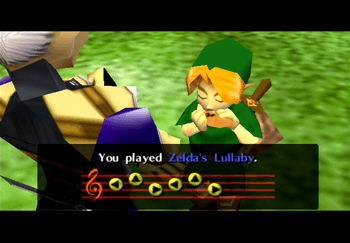 Impa teaching Zelda's Lullaby to Link on the Fairy Ocarina