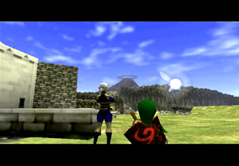 Impa showing Link where to head next - Kakariko Village and Death Mountain
