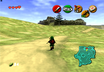 Link approaching Lon Lon Ranch in the middle of Hyrule Field