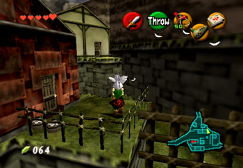 Using a Cucco to get across the fence into the northeast section of Kakariko Village