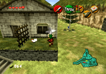 Using the first Cucco to get across to the platform in front of the House of Skulltula