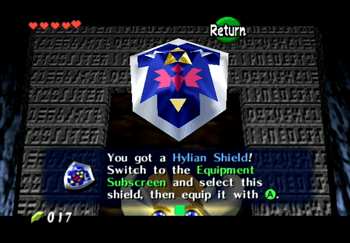 Treasure chest containing a Hylian Shield in the Kakariko Village Graveyard
