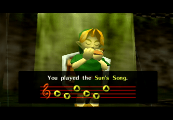 Link learning the Sun's Song in the Royal Family's Tomb