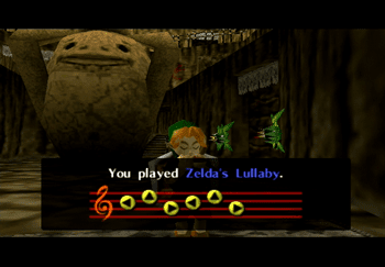 Playing Zelda's Lullaby outside of Darunia's Chamber to gain access