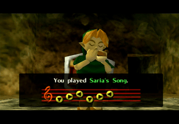 Link using Saria's Song in Darunia's Chamber