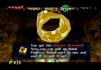 The Goron's Bracelet for pulling Bomb Flowers