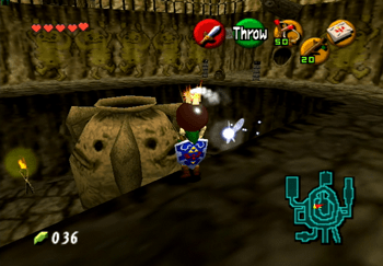 Throwing a Bomb Flower into the large pot in the center of Goron City