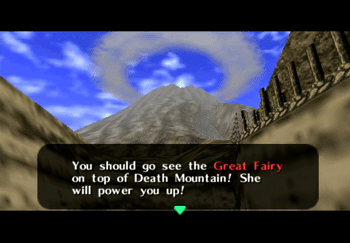 Darunia telling Link to go visit the Great Fairy at the top of Death Mountain