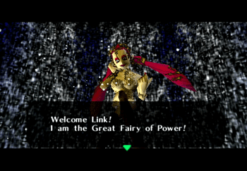 The Great Fairy welcoming Link into the Great Fairy's Fountain