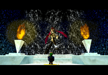 Young Link standing at a Great Fairy Fountain