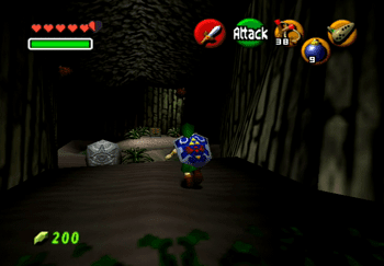 Link entering the cave in the Death Mountain Crater