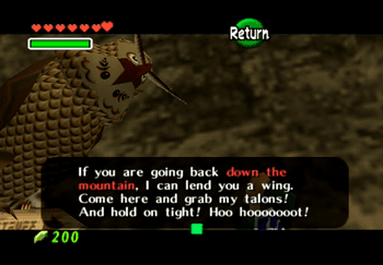 The Owl asking if Link wants a ride back down Death Mountain