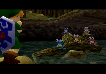 Link playing his Fairy Ocarina to the group of frogs