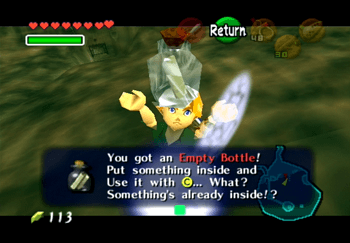 Obtaining the third Bottle in the middle of Lake Hylia