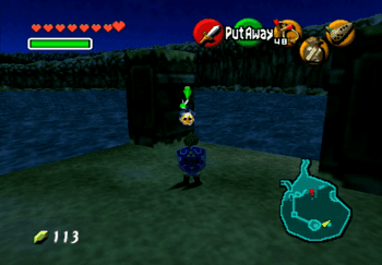 The Island in the center of Lake Hylia with the Gold Skulltula