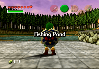 Young Link entering the Fishing Pond in Lake Hylia