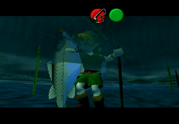 Young Link holding a large fish at the Fishing Pond