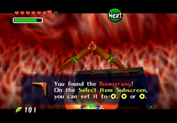 Obtaining the Boomerang from a treasure chest