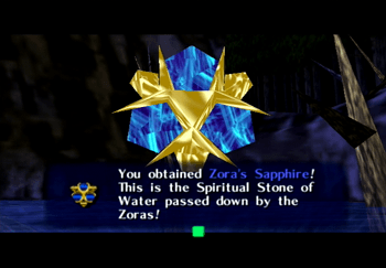 The Zora's Sapphire reward from completing the Inside of Jabu-Jabu's Belly