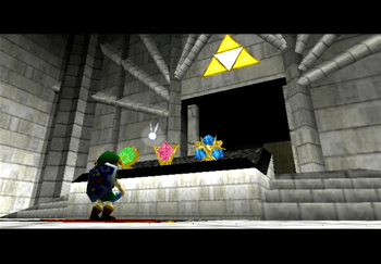 Link standing in front of the three Spiritual Stones at the altar of the Temple of Time