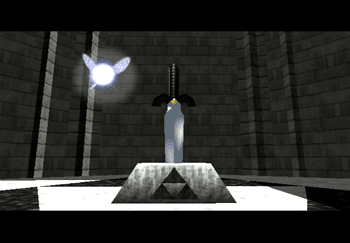Navi flying around the Master Sword in the Pedestal of Time