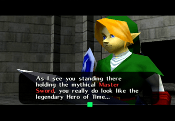 Sheik speaking to Link about the Master Sword