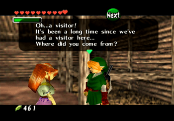 Speaking to Malon in the stables of Lon Lon Ranch