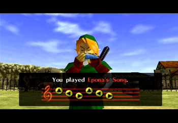 Adult Link playing Epona's Song