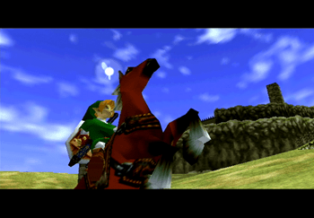 Link riding Epona outside of Lon Lon Ranch
