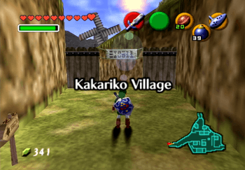 Adult Link entering Kakariko Village Title Screen