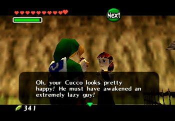 Taking the now happy Cucco back to the woman