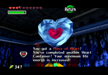 Obtaining the Piece of Heart as a reward from Dampe's race