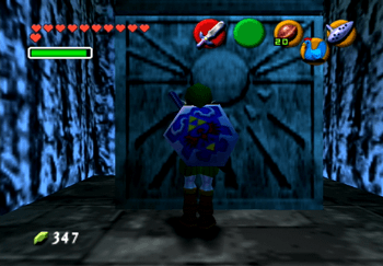 Link standing in front of a blue Stone of Time