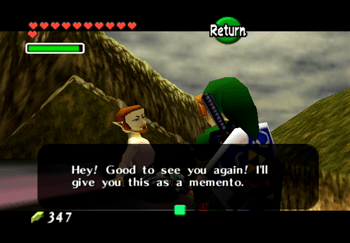 Speaking to the man on roof who gives Link a Piece of Heart as a memento