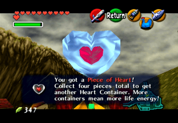 Heart Piece from the man on the roof in Kakariko Village