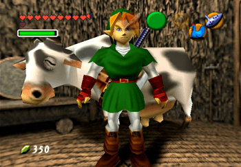 Link withe the Lon Lon Cow inside of his house in Kokiri Forest
