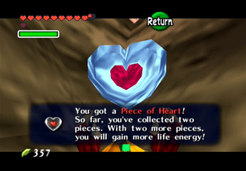 The Heart Piece on the top of Dodongo's Cavern