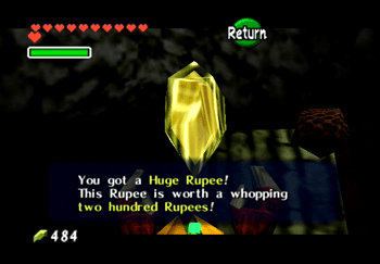 The Huge Rupee in the secret cave near Goron City