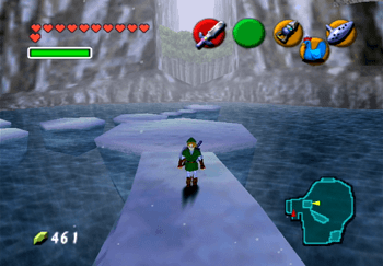 Link in Zora's Fountain on the ice blocks