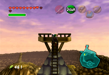 Climbing to the top of the Lakeside Laboratory to obtain the Piece of Heart