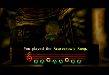 Playing the Scarecrow's Song in the Dodongo's Cavern