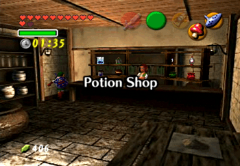 Going through the back passagewy in the Potion Shop