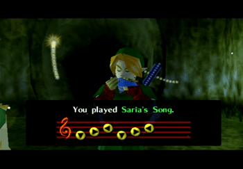 Playing Saria's Song to get past Mido