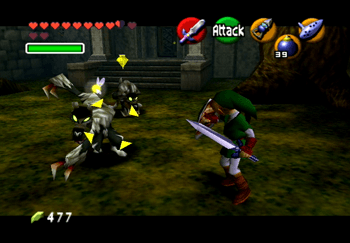 Link attacking a Wolfos