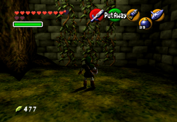 Link climbing the vines on the wall