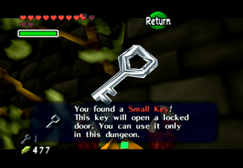 Opening the small treasure chest to obtain a Small Key