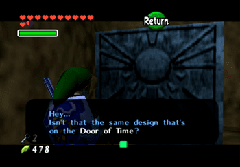 Link standing in front of a blue block with the Door of Time design on it