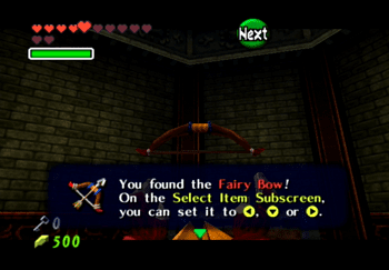 Obtaining the Fairy Bow from the treasure chest