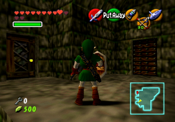 Link looking at the two doors on the far wall