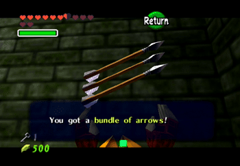 Obtaining a bundle of arrows from the treasure chest